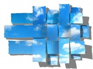 4890866-woven-blue-sky-with-fluffy-clouds